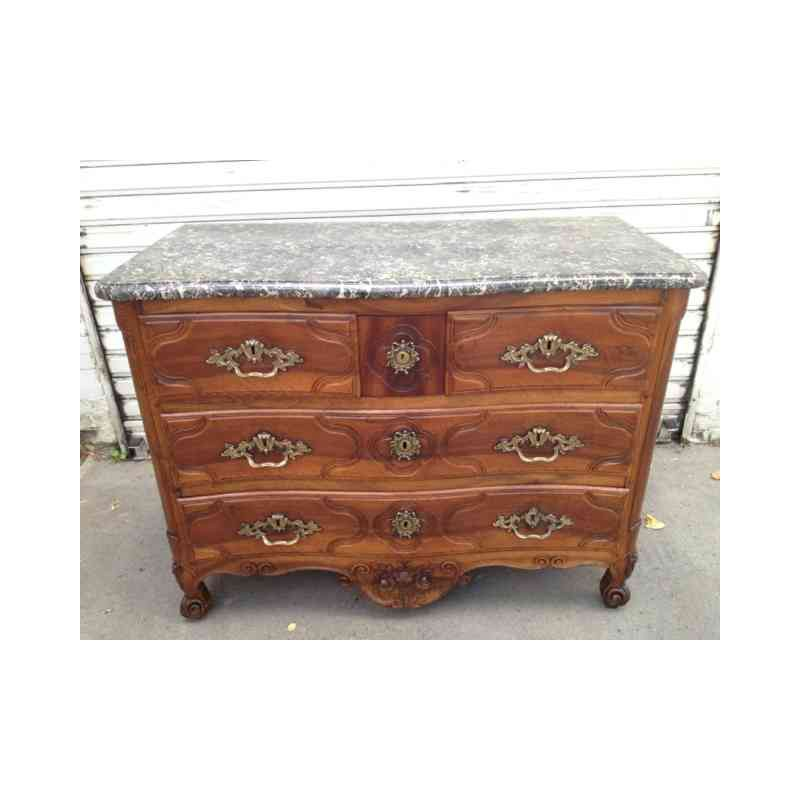 18th Century Chest Of Drawers Curved Walnut Stamped