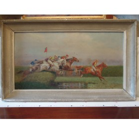 Oil on canvas : horse race in Auteuil by Eugene Pechaubes