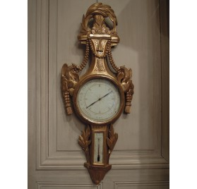 Gilt wood barometer, 18th century