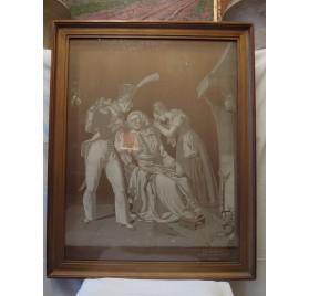 Le soldat quittant son foyer, tissage de soie ivoire, MANUFACTURE DE MATHEVON ET BOUVARD FRÈRES (Lyon).