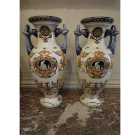 Pair of Gien faience vases polychrome