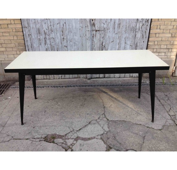 Vintage Tolix large refectory table, Formica top