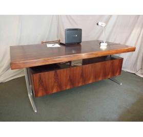 Scandinavian rosewood palisander & aluminium desk