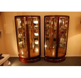 Paire de vitrines d'encoignure Maurice Rinck Art-Deco