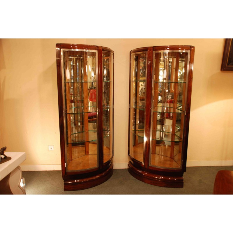 Sold Pair Of Art Deco Display Cabinets By Rinck