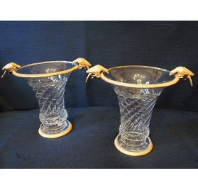 Pair of crystal vases in ormolu mounted with birds