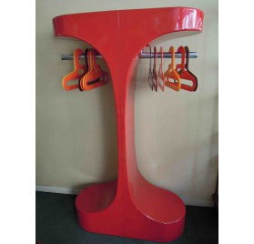 Vintage red plastic coat rack by Intexal for Rodier, 70s