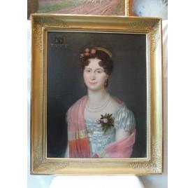 Ecole française, portrait de jeune femme, début XIXème.