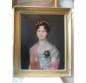 French Empire period : oil on canvas, portrait of a young woman