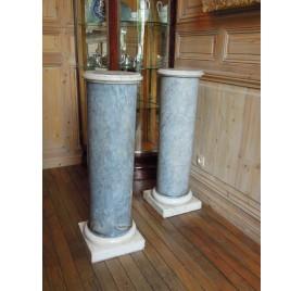 Paire de colonnes en marbre bleu turquin, XIXe