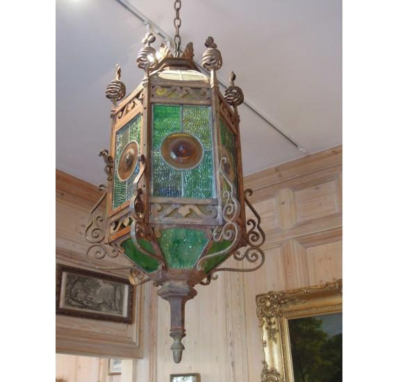 Lanterne hexagonale de Bodart, XIXe fer forgé 1878
