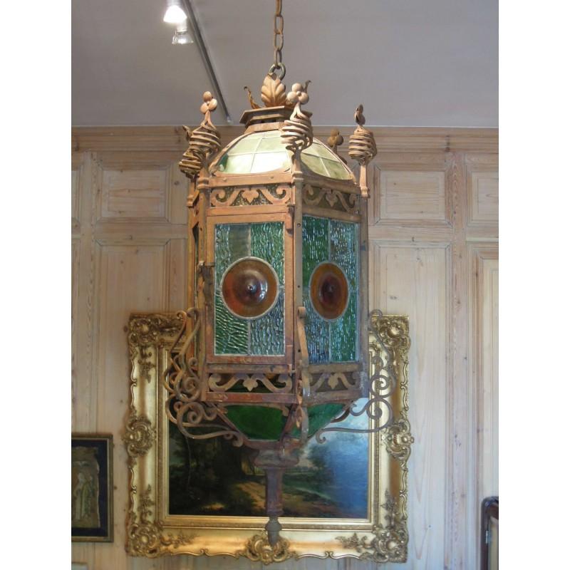 lanterne hexagonale de bodart xixe fer forg 1878 havas antiquites. Black Bedroom Furniture Sets. Home Design Ideas