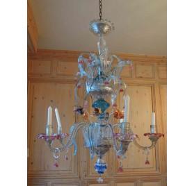 Lustre cinq branches en verre de Murano