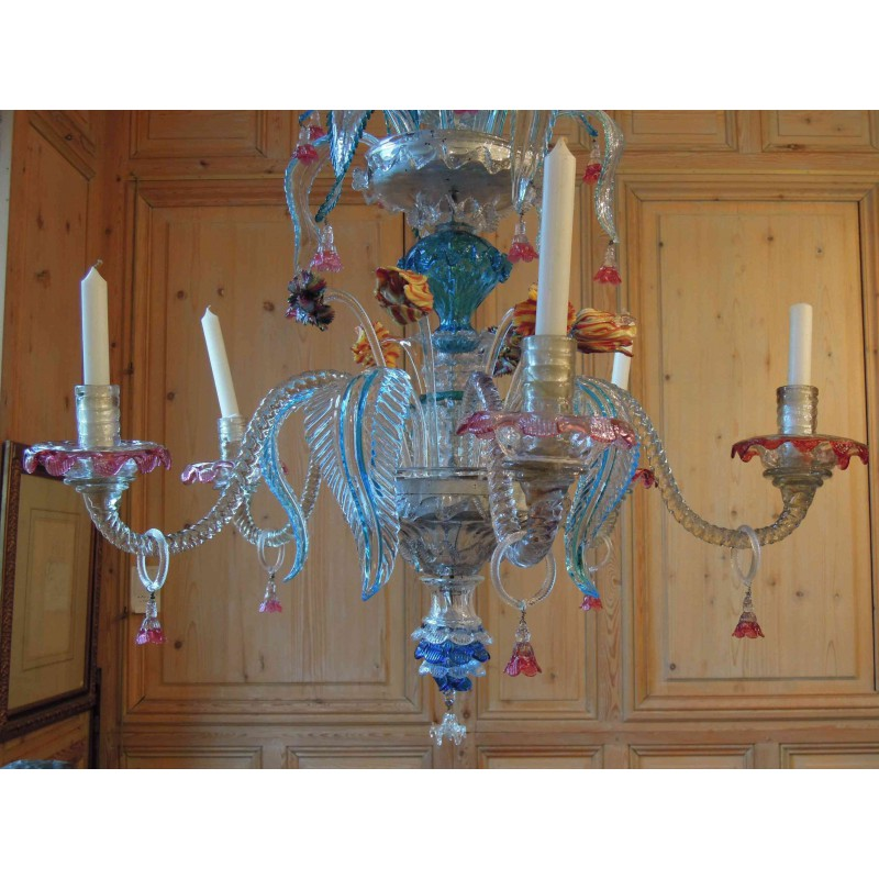 Sold Murano Glass Chandelier With 5 Branches