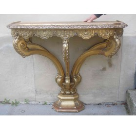 Italian 5 feet console, in gilded wood