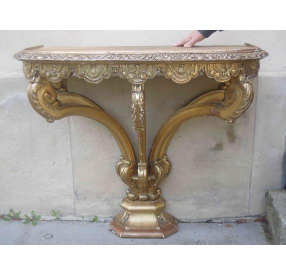 Console italienne à 5 pieds en bois doré