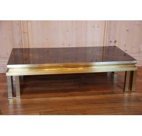 Table basse en bronze et verre églomisé