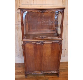 Old walnut display cabinet for a store