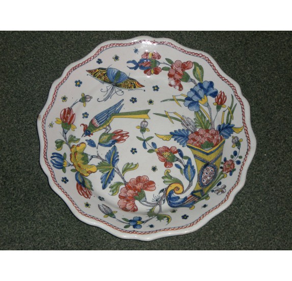 Rouen faience plate, 18th century