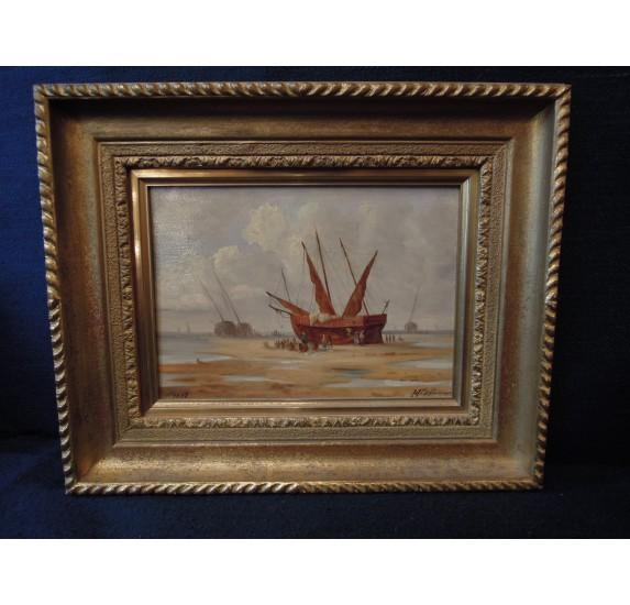 Huile sur panneau : bateaux et pêcheurs, Lefauconnier 1887