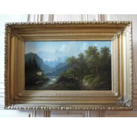 BACHMANN Minna, Paysage de montagne et randonneur, fin XIXème siècle.
