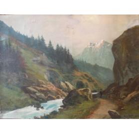 WIBAULT Marcel (1905-1998), Paysage de montagne et aiguilles enneigées.