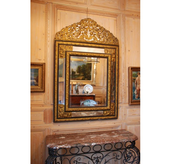 Ancien miroir à parecloses du XIXe siècle