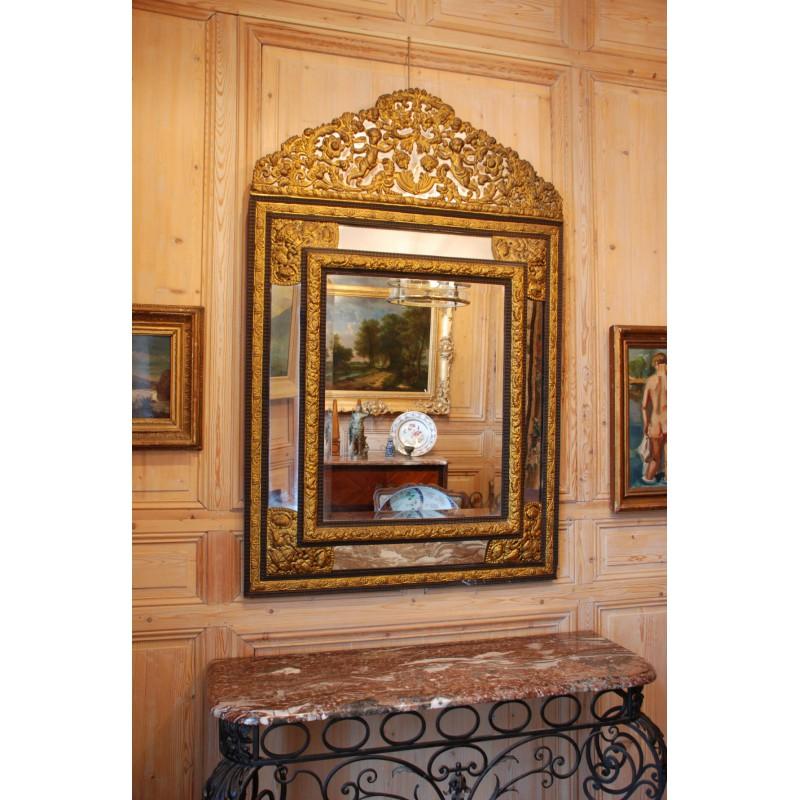 Ancien miroir parecloses du xixe si cle havas antiquites for Miroir xix siecle