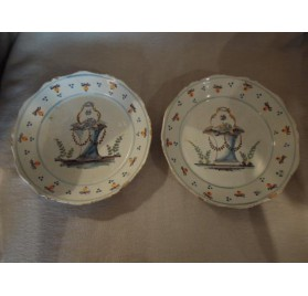 Pair of wedding plates, Auxerre 18th c.
