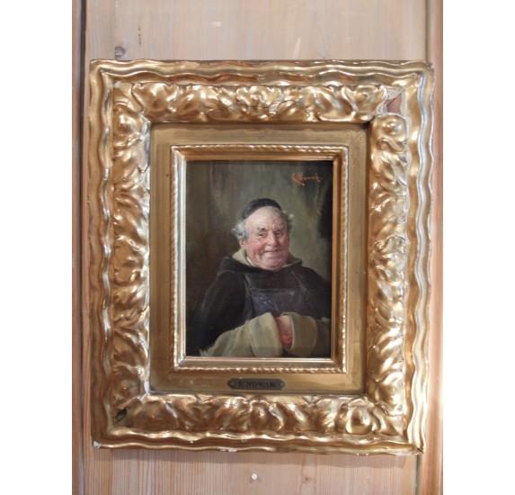 Huile sur toile : moine jovial au tablier, signé E. Nowak