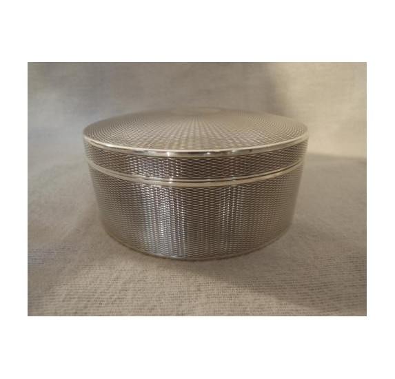 Sterling silver round box guilloche