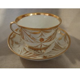 Cup and saucer, Paris porcelain, 19th century