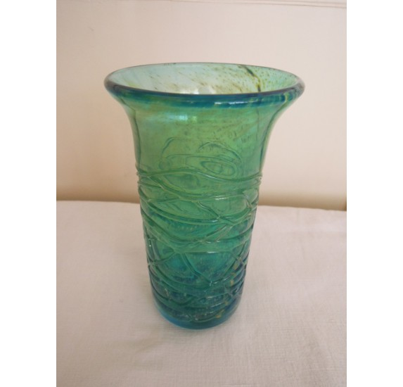Maltese vase Mdina, textured glass blue, green and yellow